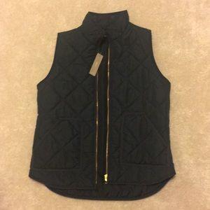 J Crew Black Quilted Vest